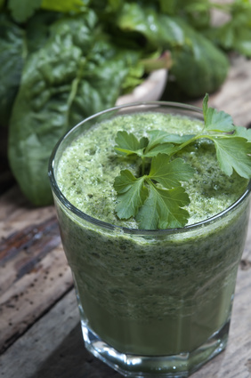 detoxifying green smoothie selective focus
